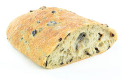 Mediterranean Ciabatta Black olive bread. Royalty Free Stock Photos