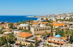 Mediterranean city historic center panorama with old church and mosque and residential buildings in the background, Biblos,. Lebanon ancient architecture bay stock image