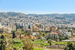 Mediterranean city historic center panorama with ruins and residential buildings in the background, Biblos, Lebanon. Ancient architecture byblos church royalty free stock images