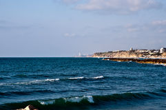 Mediterranean coast. Panoramic view of Herzliya (Israel Royalty Free Stock Images