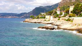 Mediterranean coast in Cap d'Ail, French Riviera stock footage
