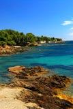 Mediterranean coast of French Riviera. Scenic view of Mediterranean coast of French Riviera Stock Photo