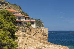 Mediterranean coast house in the cliffs of Costa Brava, Catalonia Stock Photo