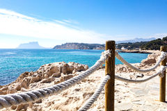 Mediterranean coast from Moraira coastline. Mediterranean coast just to go for a walk listening the waves and feeling the sun. Photo taken from Moraira walkway Stock Photography