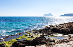 Mediterranean coast from Moraira. Mediterranean coast just to go for a walk listening the waves and feeling the sun. Photo taken from Moraira walkway Royalty Free Stock Photography
