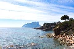 Mediterranean coast from Moraira walkway Stock Image
