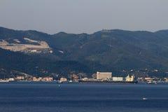 Mediterranean coast and Oil tanker. Savona, Italy Royalty Free Stock Photography