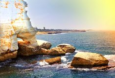 Mediterranean Coast with Rosh A Nikra royalty free stock images