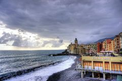 Mediterranean coast with small town. The little city of Camogli in the Italian coast royalty free stock images