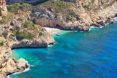 Mediterranean coast in summertime. Gorgeous mediterranean coast beach in summertime Royalty Free Stock Photos