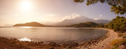 Mediterranean coast of Turkey and mountains. At sunset Royalty Free Stock Images