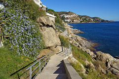Mediterranean coastal footpath in Costa Brava Stock Photos