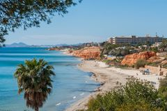 Mediterranean coastline with sandy beach, cliff, palm tree and pine tree under a clear blue sky on a summer day. Coastline with sandy beach, cliff, palm tree and Royalty Free Stock Images
