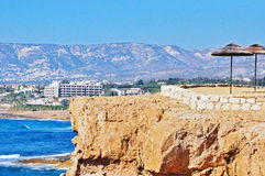 Mediterranean coastline. Mediterranean view on the rocky clif Royalty Free Stock Photography