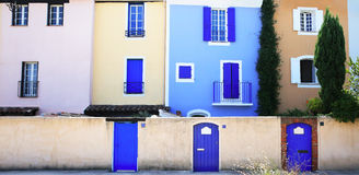 Mediterranean colors. Colorful wall with windows and doors Stock Photo