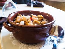 Mediterranean cooking, delicious baked bean and chestnut soup in an earthenware bowl in an Italian restaurant royalty free stock photos