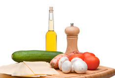 Mediterranean Cooking Ingredients. Mediterranean Cooking Ingredients, used for making vegetarian lasagne amongst other things Royalty Free Stock Image