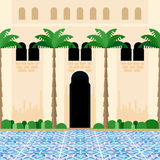 Mediterranean courtyard. Abstract scenery of traditional backyard with blue tiled floor. Inner garden with palms and classic Moorish architecture wall. Flat Stock Image