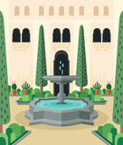 Mediterranean courtyard of traditional Moorish architecture. Abstract idyllic scenery of backyard with streaming fountain and inner garden. Flat design vector Stock Images