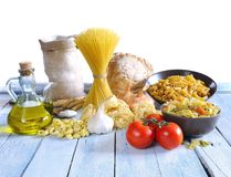 Mediterranean cousine. Mediterranean cousine ingredients in the kitchen Stock Images