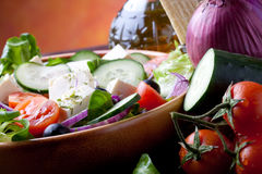 Mediterranean Cuisine. Delicious and Fresh Greek Style Salad Royalty Free Stock Photography