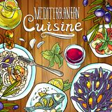 Mediterranean cuisine. Beautiful hand-draw illustration mediterranean cuisine- food on the wood texture Royalty Free Stock Images