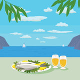 Mediterranean cuisine concept. Mediterranean landscape Concept. Seashore panoramic view. Mediterranean Food. Fish, Wine and lemon. Seafood. Olive leaves. Vector Royalty Free Stock Images