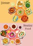 Mediterranean cuisine dishes icon set design Stock Image