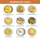Mediterranean cuisine dishes vector icons set for restaurant menu. Mediterranean food cuisine for restaurant menu. Traditional seafood, meat and fish grill Royalty Free Stock Photos