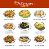 Mediterranean cuisine food traditional dishes. Of baked chicken legs, seafood prawn cheese soup or Caesar salad and dorado fish, Sicilian arancini and mussels Stock Images