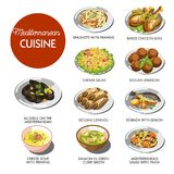 Mediterranean cuisine food traditional dishes. Of baked chicken legs, seafood prawn cheese soup or Caesar salad and dorado fish, Sicilian arancini and mussels Stock Photos