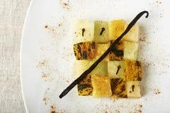 Mediterranean cuisine, melon in cubes. Stock Image