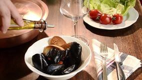 Mediterranean cuisine, mussels stock footage