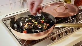 Mediterranean cuisine, mussels stock video footage