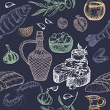 Mediterranean cuisine seamless pattern on blue background. Includes hand drawn sketch of bread, wine, cheese, olives, seafood and spices. Great for restaurants Stock Photo