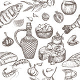 Mediterranean cuisine seamless pattern. Royalty Free Stock Photography