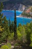 Mediterranean cypress and sea Stock Image