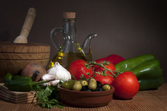 Mediterranean diet. Whith oil and olives Stock Photo