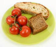 Mediterranean diet bread and tomato Royalty Free Stock Image