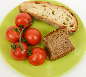 Mediterranean diet bread and tomato Stock Photos