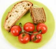 Mediterranean diet bread and tomato Stock Image