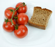 Mediterranean diet brown bread and tomato Royalty Free Stock Photo