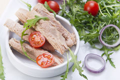 Plate of tuna steaks Stock Photography