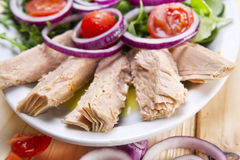 Plate of tuna steaks Stock Photos