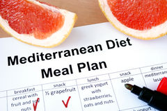 Mediterranean diet meal plan and grapefruit. Royalty Free Stock Images