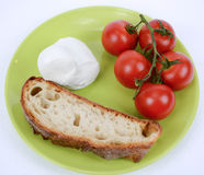 Mediterranean diet tomato and mozzarella and bread Royalty Free Stock Photography