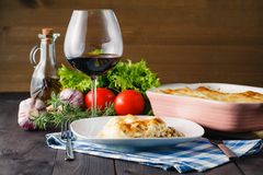 Mediterranean dinner with lasagne Royalty Free Stock Images