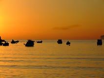 Mediterranean Dusk. Typical Mediterranean sunset in a tranquil beach in Malta Royalty Free Stock Image