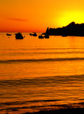 Mediterranean Dusk. Typical Mediterranean sunset in a tranquil beach in Malta Royalty Free Stock Images