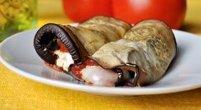 Mediterranean eggplant rools Stock Photos